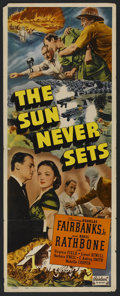 "Movie Posters:Adventure, The Sun Never Sets (Realart, R-1949). Insert (14"" X 36"").Adventure. ..."