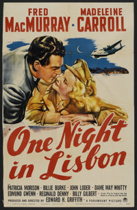 """One Night in Lisbon (Paramount, 1941). One Sheet (27"""" X 41"""") Style A. Comedy"""
