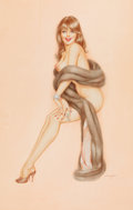 Paintings, ALBERTO VARGAS (American, 1896-1982). Brunette in Fur, Playboy magazine pin-up. Pencil and watercolor on board. 25 x 16 ...