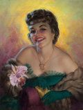 Paintings, ZOE MOZERT (American, 1904-1993). Glamour Portrait. Pastel on board. 27.5 x 20.75 in.. Signed lower left. ...
