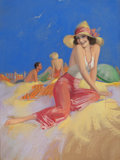 Pin-up and Glamour Art, ROLF ARMSTRONG (American, 1889-1960). Bathing Beauty in SunHat, circa late 1930s-40s. Pastel on board. 38.5 x 28.5 in....
