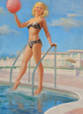 Pin-up and Glamour Art, ART FRAHM (American, 1906-1981). A Bathing Beauty with BeachBall, calendar pin-up, circa 1950s. Oil on canvas laid on b...