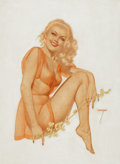 Pin-up and Glamour Art, ALBERTO VARGAS (American, 1896-1982). Blonde with Roses, playingcard pin-up, circa 1940s. Watercolor on paper. 18.25 x ...(Total: 2 Items)