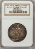 Commemorative Silver: , 1925 Medal Norse Thin Planchet MS64 NGC. PCGS Population (111/39).(#9451)...