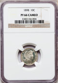Proof Barber Dimes: , 1898 10C PR66 Cameo NGC. NGC Census: (38/64). PCGS Population(16/11). (#84882)...