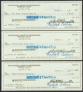 Baseball Collectibles:Others, Bart Giamatti Signed Checks Lot of 3. ...