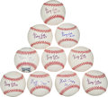 Baseball Collectibles:Balls, George Kell and Monte Irvin Single Signed Baseballs Lot of 10....