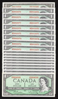 Canadian Currency: , $1 1954 Modified Portrait Notes.. ... (Total: 18 notes)