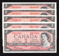 Canadian Currency: , BC-38b $2 1954 Modified Portrait Five Examples.. ... (Total: 5 notes)