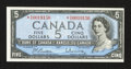 Canadian Currency: , BC-39bA $5 1954 Modified Portrait Asterisk Note.. ...