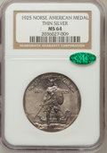 Commemorative Silver: , 1925 Medal Norse Thin Planchet MS64 NGC. CAC. PCGS Population(111/39). (#9451)...