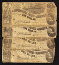 Confederate Notes:1862 Issues, T44 $1 1862 Four Examples.. ... (Total: 4 notes)