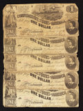 Confederate Notes:1862 Issues, T44 $1 1862 Five Examples.. ... (Total: 5 notes)