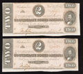 Confederate Notes:1864 Issues, T70 $2 1864 Two Examples.. ... (Total: 2 notes)