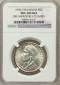 Commemorative Silver, 1935/34 50C Boone -- Obv Improperly Cleaned -- NGC Details. UNC.NGC Census: (0/1216). PCGS Population (0/1793). Mintage: 1...