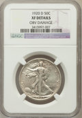 Walking Liberty Half Dollars, 1920-D 50C -- Obv Damage -- NGC Details. XF. NGC Census: (9/199).PCGS Population (10/299). Mintage: 1,551,000. Numisme...