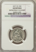 Seated Quarters, 1877-CC 25C -- Improperly Cleaned -- NGC Details. AU. NGC Census:(9/367). PCGS Population (14/418). Mintage: 4,192,000. Nu...
