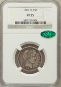 Barber Quarters: , 1901-O 25C VF25 NGC. CAC. NGC Census: (2/38). PCGS Population (11/76). Mintage: 1,612,000. Numismedia Wsl. Price for proble...