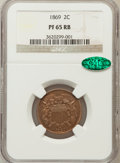 Proof Two Cent Pieces, 1869 2C PR65 Red and Brown NGC. CAC....