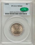Liberty Nickels, 1898 5C MS66 PCGS. CAC....