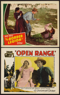 """Open Range & Other Lot (Paramount, 1927). Lobby Cards (2) (11"""" X 14""""). Western. ... (Total: 2 Items)"""