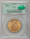 Liberty Eagles: , 1889-S $10 MS61 PCGS. CAC. PCGS Population (239/623). NGC Census:(501/519). Mintage: 425,400. Numismedia Wsl. Price for pr...