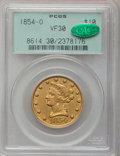 Liberty Eagles, 1854-O $10 Large Date VF30 PCGS. CAC. PCGS Population (1/79). NGCCensus: (0/160). Mintage: 52,500. Numismedia Wsl. Price f...