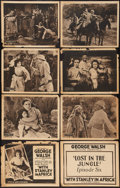 "Movie Posters:Serial, With Stanley In Africa (Universal, 1922). Title Lobby Cards (2) & Lobby Cards (6) (11"" X 14""). Episode 6 -- ""Lost in the Jun... (Total: 8 Items)"