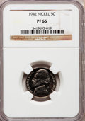 Proof Jefferson Nickels: , 1942 5C Type One PR66 NGC. NGC Census: (739/292). PCGS Population(1291/326). Mintage: 29,600. Numismedia Wsl. Price for pr...