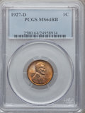 Lincoln Cents: , 1927-D 1C MS64 Red and Brown PCGS. PCGS Population (231/55). NGCCensus: (119/52). Mintage: 27,170,000. Numismedia Wsl. Pri...
