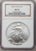 Modern Bullion Coins: , 2003 $1 Silver Eagle MS70 NGC. NGC Census: (2041). PCGS Population(405). Numismedia Wsl. Price for problem free NGC/PCGS ...