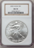 Modern Bullion Coins, 2002 $1 Silver Eagle MS70 NGC. NGC Census: (1891). PCGS Population(24). Numismedia Wsl. Price for problem free NGC/PCGS c...