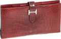 Luxury Accessories:Accessories, Hermes Rouge H Matte Alligator Bearn Bi-fold Wallet with PalladiumHardware. ...