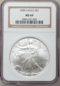 Modern Bullion Coins, 2005 $1 Silver Eagle MS69 NGC. NGC Census: (100738/3377). PCGSPopulation (6895/27). Numismedia Wsl. Price for problem fre...