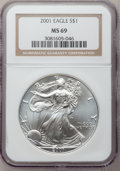 Modern Bullion Coins: , 2001 $1 Silver Eagle MS69 NGC. NGC Census: (80451/447). PCGSPopulation (20354/23). Numismedia Wsl. Price for problem free...