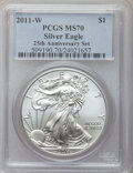 Modern Bullion Coins, 2011-W $1 Silver Eagle, 25th Anniversary MS70 PCGS. PCGS Population(531). NGC Census: (7255). Numismedia Wsl. Price for p...
