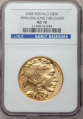 Modern Bullion Coins, 2008 G$50 One-Ounce Gold Buffalo Early Releases MS70 NGC. Ex: .9999Fine. NGC Census: (0). PCGS Population (1311). (#3933...