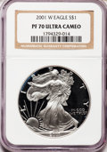 Modern Bullion Coins: , 2001-W $1 Silver Eagle PR70 Ultra Cameo NGC. NGC Census: (3389).PCGS Population (590). Numismedia Wsl. Price for problem ...