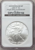 Modern Bullion Coins, 2006-W $1 Silver Eagle 20th Anniversary MS70 NGC. NGC Census:(7082). PCGS Population (350). Numismedia Wsl. Price for pro...