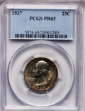 Proof Washington Quarters: , 1937 25C PR65 PCGS. PCGS Population (486/420). NGC Census:(270/357). Mintage: 5,542. Numismedia Wsl. Price for problem fre...