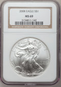 Modern Bullion Coins, 2008 $1 Silver Eagle MS69 NGC. NGC Census: (46010/4367). PCGSPopulation (2578/1309). Numismedia Wsl. Price for problem fr...