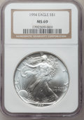 Modern Bullion Coins: , 1994 $1 Silver Eagle MS69 NGC. NGC Census: (111956/168). PCGSPopulation (3934/0). Mintage: 4,227,319. Numismedia Wsl. Pric...