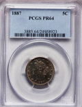 Proof Liberty Nickels: , 1887 5C PR64 PCGS. PCGS Population (319/183). NGC Census:(215/217). Mintage: 2,960. Numismedia Wsl. Price for problemfree...
