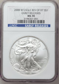 Modern Bullion Coins, 2008-W $1 Silver Eagle, Reverse of 2007, Early Releases MS70 NGC.NGC Census: (0). PCGS Population (192). (#396437)...