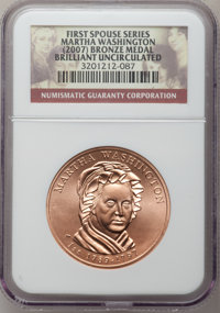 (2007) MEDAL Bronze Martha Washington Brilliant Uncirculated NGC. Ex: First Spouse Series