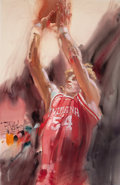 Mainstream Illustration, ROBERT PEAK (American, 1927-1992). Indiana Hoosiers collegebasketball player. Mixed media on board. 37 x 24 in.. Signed...