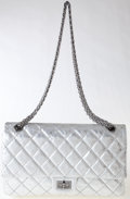 Luxury Accessories:Bags, Heritage Vintage: Chanel Silver Metallic Quilted LambskinLeather Double Flap Bag . ...