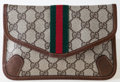 Luxury Accessories:Bags, Heritage Vintage: Gucci Monogram Clutch with Red and GreenStripe. ...