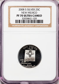 2008-S 25C New Mexico Silver PR70 Ultra Cameo NGC. NGC Census: (0). PCGS Population (350). Numismedia Wsl. Price for pro...