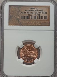 2009 1C Professional Life, First Day of Issue MS66 Red NGC. NGC Census: (0/0). PCGS Population (730/4). Numismedia Wsl...